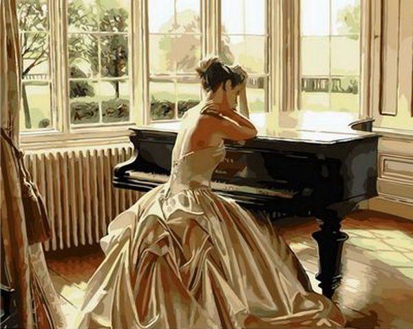 Картина раскраска по номерам Девушка у рояля - VseTak ...