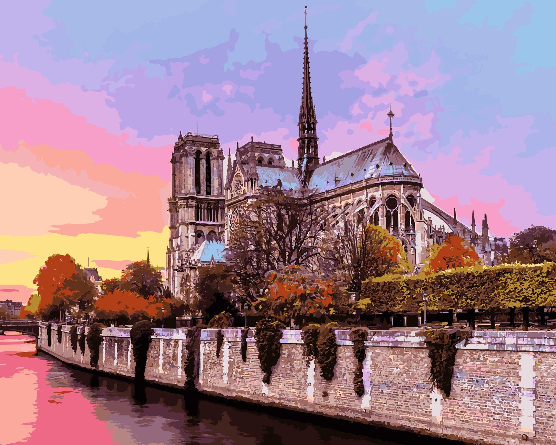 Раскраски по номерам Рассвет над собором Парижской ...