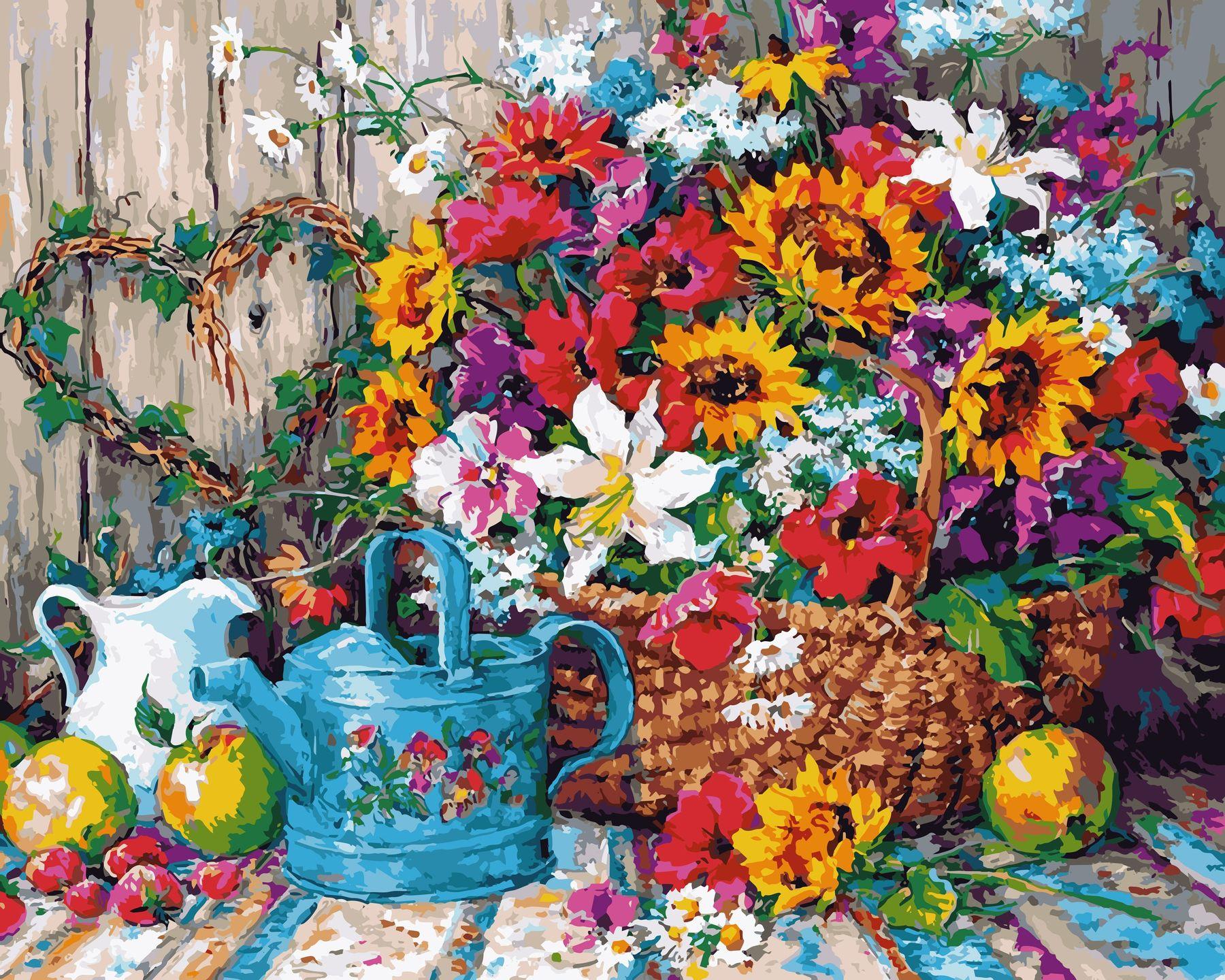 Раскраски по номерам Натюрморт с цветочной лейкой - VseTak ...