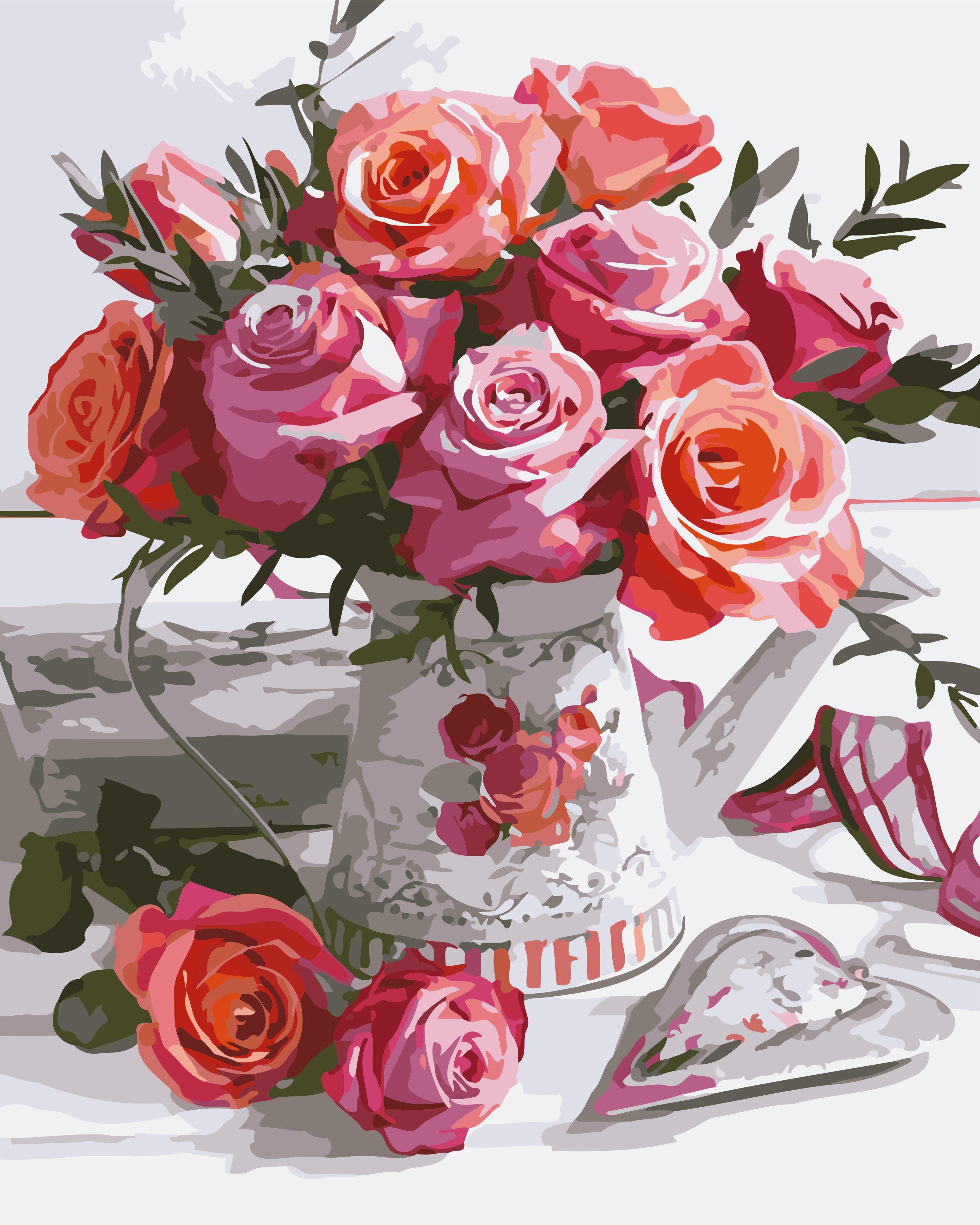 Раскраска по номерам картина Букет роз АртСтори - VseTak ...