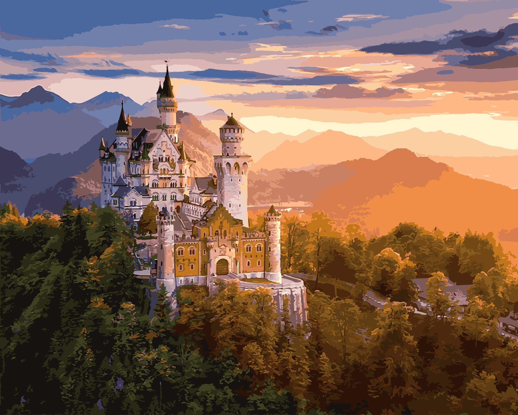 Раскраски по номерам Замок в лучах заката - VseTak ...