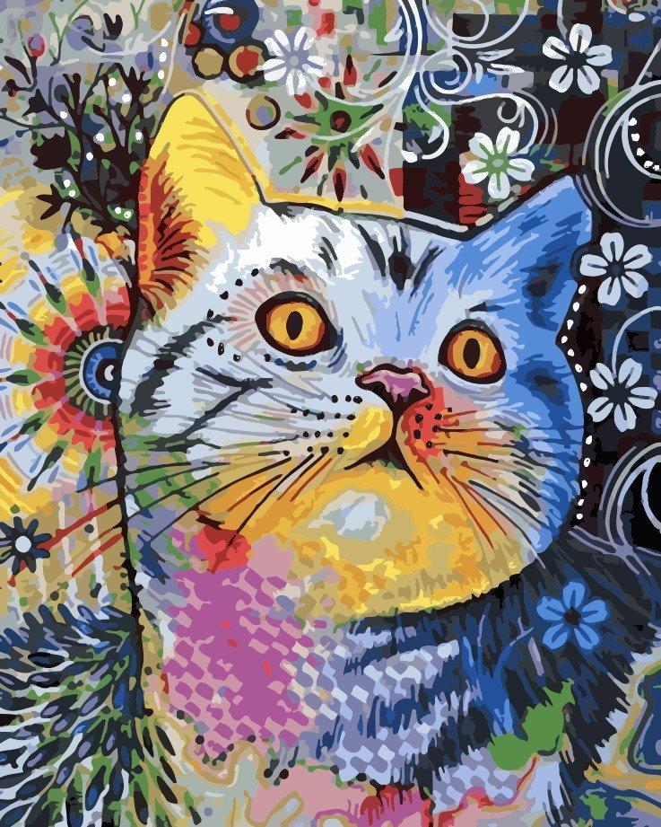 Смешной кот рисунок красками, картинка люблю