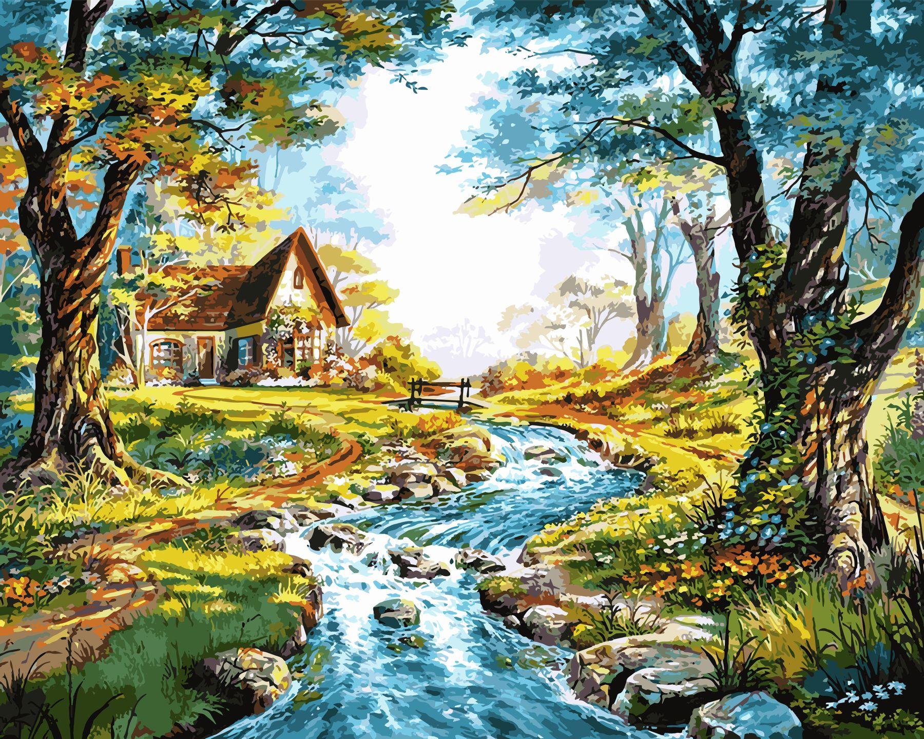 Раскраски по номерам Домик на берегу горной речки - VseTak ...