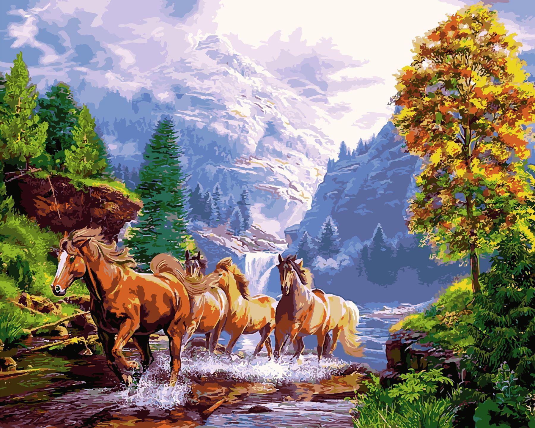 Раскраски по номерам Лошади на берегу горного озера ...
