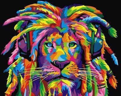 Раскраски по номерам Радужный лев с дредами ...