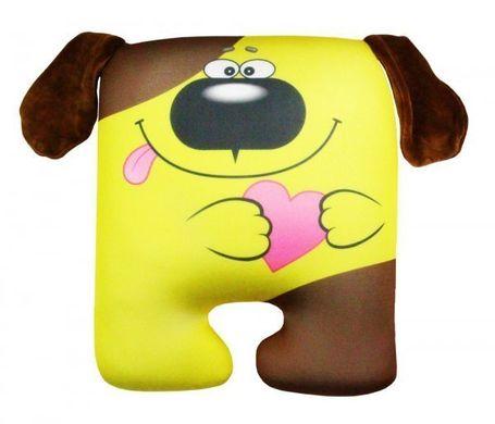 Подушка игрушка антистресс Собака квадрат с сердцем ...