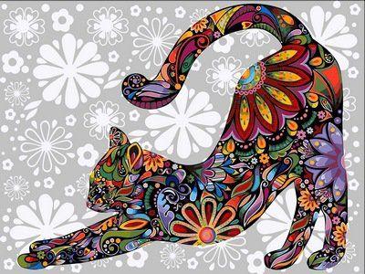 Раскраски по номерам Цветочный кот (потягивающийся ...